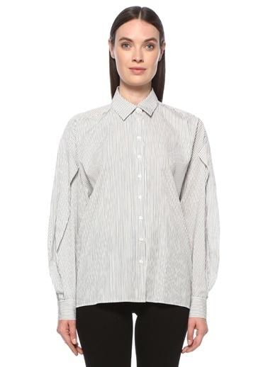 NetWork NetWork 1076421 İngiliz Yaka Çizgili Kolu Volan Detaylı Kadın Gömlek Ekru